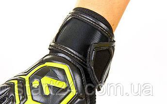 Перчатки вратарские с защитными вставками на пальцы STORELLI FB-905-2  (PVC, р-р 8-10, черный-желтый), фото 3