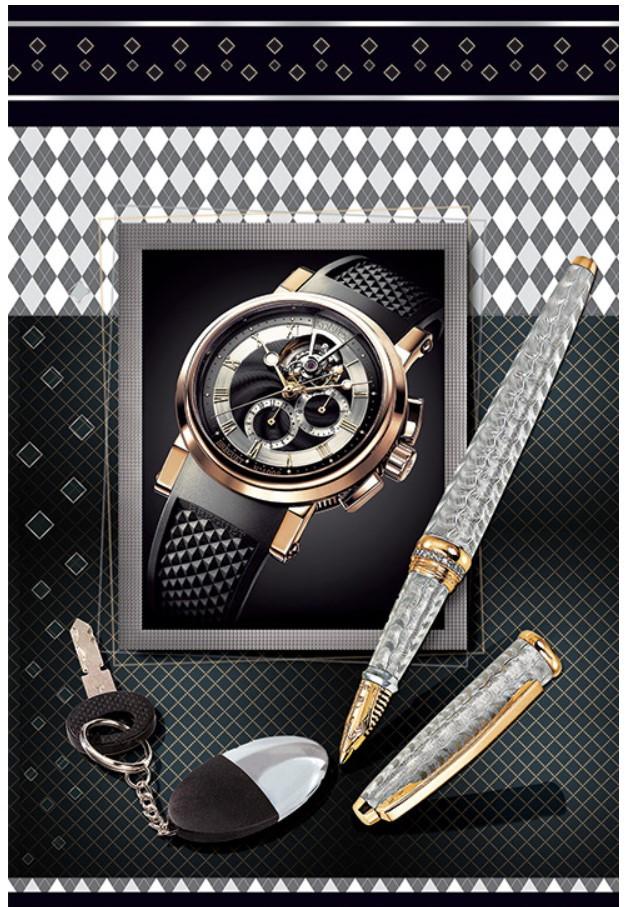 Подарочный бумажный пакет МИНИ ''Часы'' 8*12*3.5 см