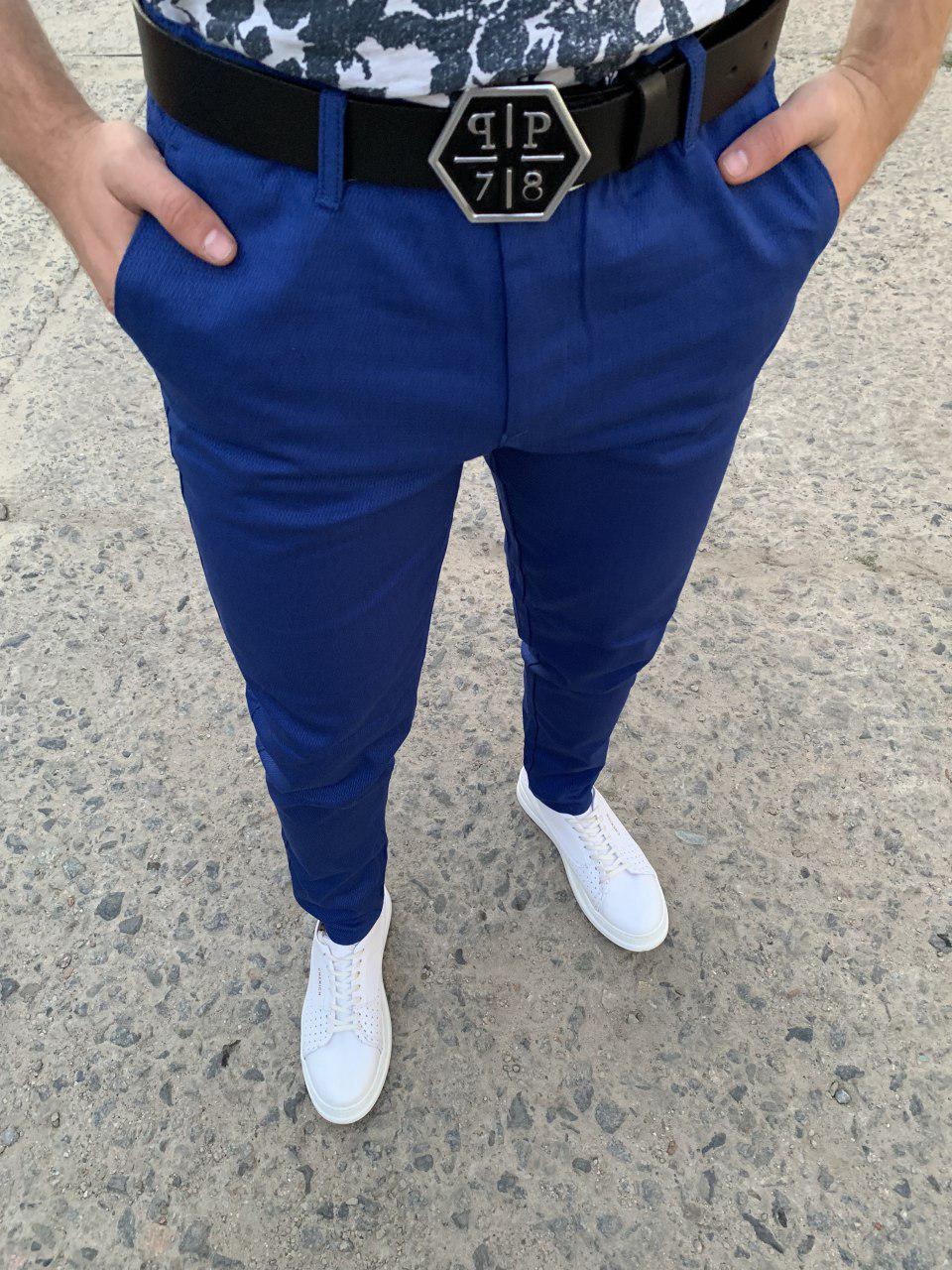 Мужские брюки зауженные синие ZB6