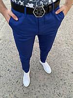 Мужские брюки зауженные синие ZB6, фото 1