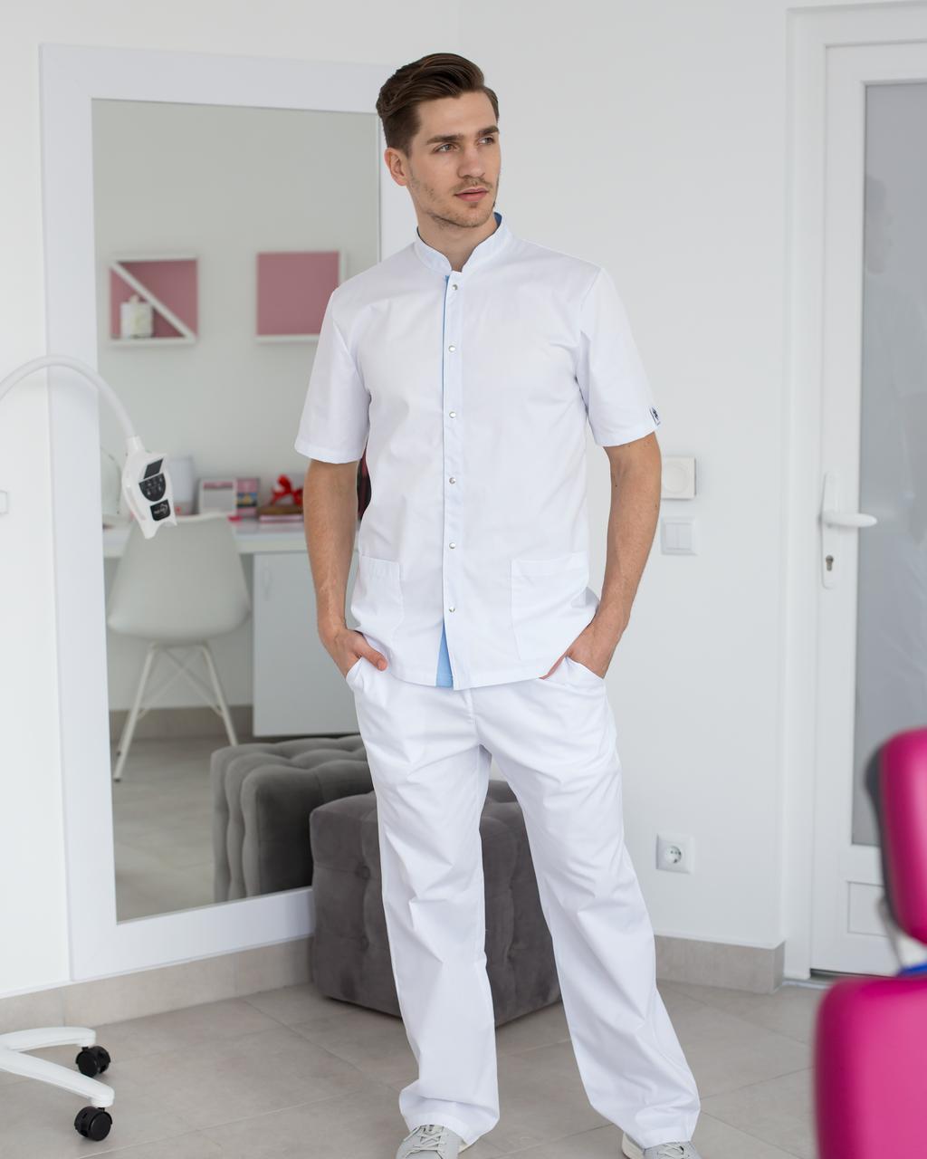 Медицинский костюм мужской Лондон белый-голубой
