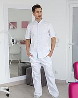 Медичний костюм чоловічий Лондон білий-блакитний, фото 1