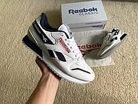 Мужские кожаные кроссовки Reebok Classic White Blue белые с синим