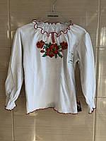 Футболка-вышиванка для девочки с длинным рукавом р.92