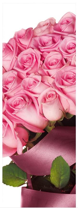 Подарочные бумажные пакеты БУТЫЛКА ''Цветы розовые'' (12*9*36)