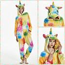 Пижама кигуруми Взрослые и Детские Единорог цветной, фото 4