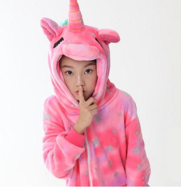 Пижама кигуруми Взрослые и Детские Единорог розовый со звездами