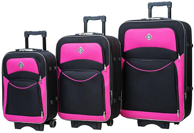 Набор чемоданов Bonro Style 3 штуки черно-розовый (10010312), фото 2