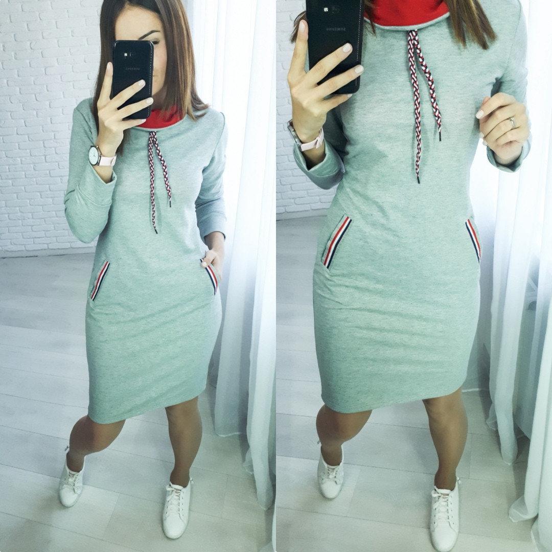 / Размер 42-44,46-48 / Женское повседневное трикотажное платье Respect - серый