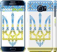 """Чехол на Samsung Galaxy S6 G920 Герб - вышиванка желто-голубая """"1197c-80"""""""