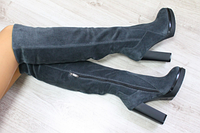 Демисезонные натуральные замшевые серые сапоги на удобном каблуке