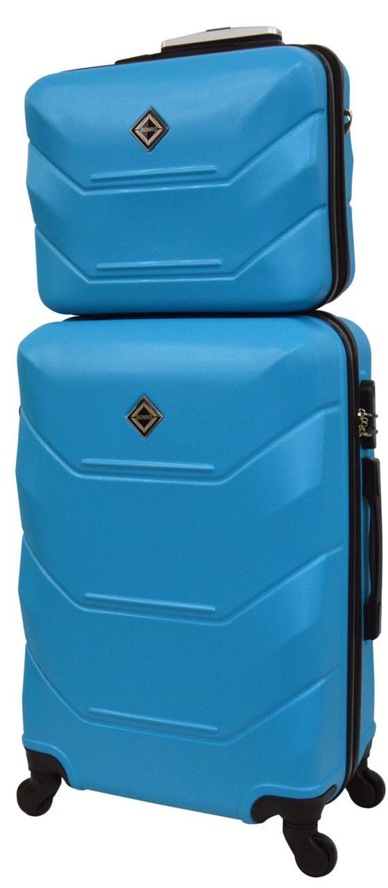 Комплект чемодан и кейс Bonro 2019 большой голубой  (10501203)