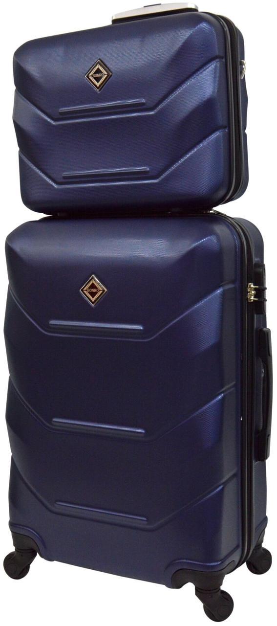 Комплект чемодан и кейс Bonro 2019 большой темно-синий  (10501204)