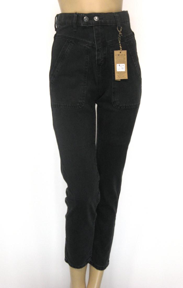 Жіночі чорні джинси Mom jeans висока посадка