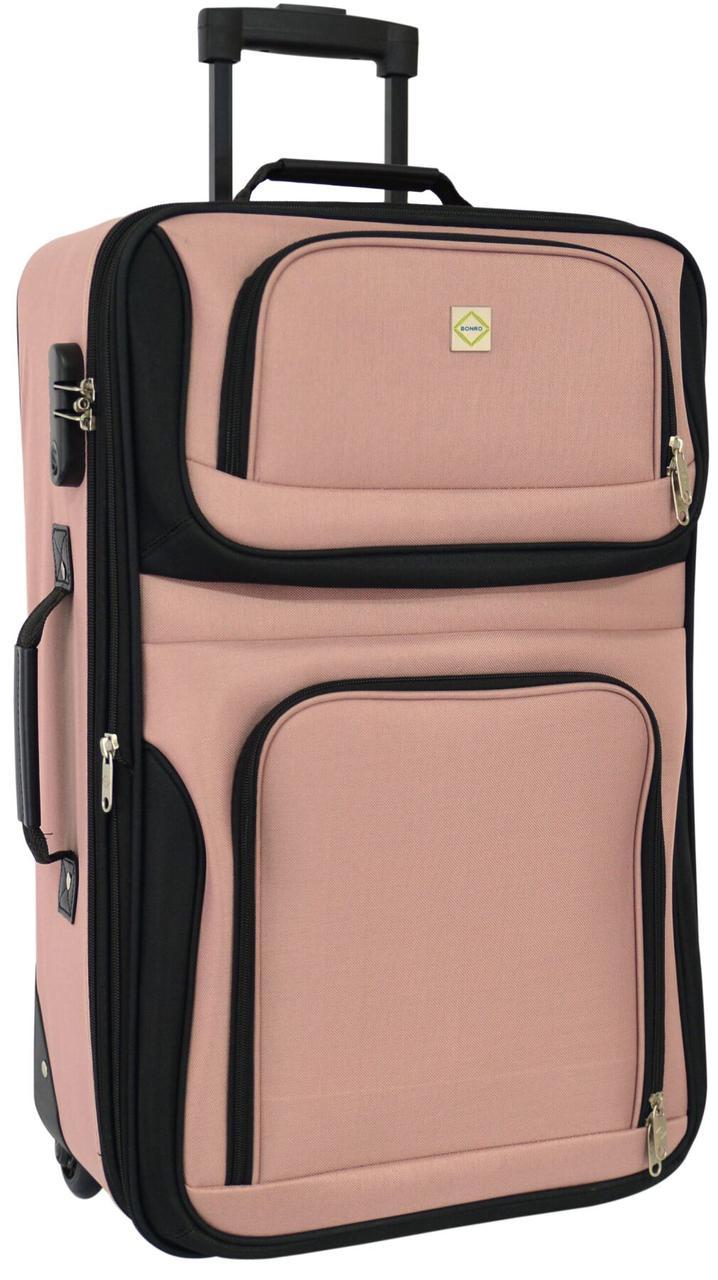Дорожный чемодан на колесах Bonro Best маленький розовый (10080203)
