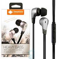 Наушники с микрофоном Deepbass D-18 серебристые