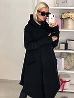 Женская стильная теплая мантия кардиган на флисе с капюшоном черный серый графит  42-46, фото 1