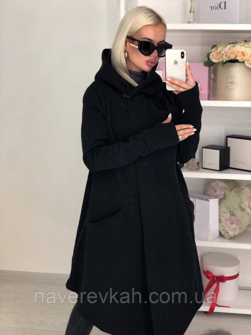 Женская стильная теплая мантия кардиган на флисе с капюшоном черный серый графит  42-46