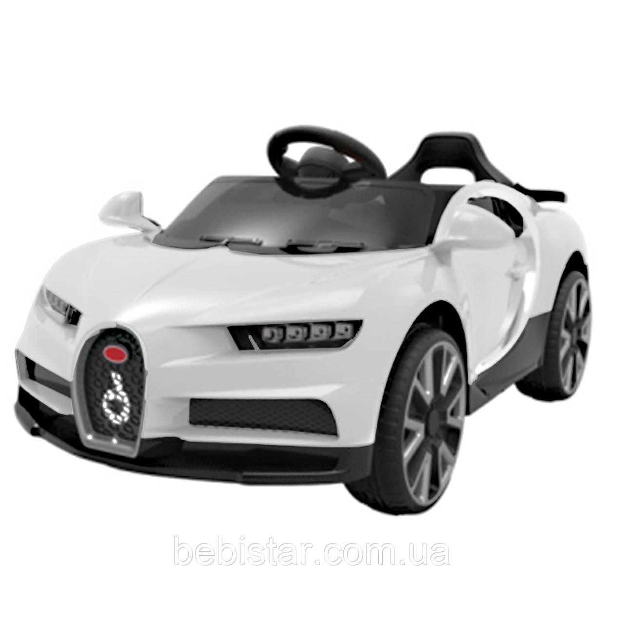 Электромобиль спорткар белый T-7638 EVA WHITE для деток 3-8 лет с пультом мотор 2*20W аккумулятор 12V4.5AH
