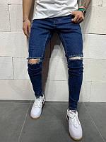 Мужские рваные джинсы (синие) - Турция, фото 1