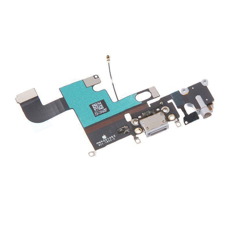 Шлейф Apple iPhone 6 с разъемом зарядки, разъемом наушников и микрофоном Original Grey