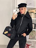 Женская короткая осенняя куртка на резинке и молнии черный красный хаки марсала 42-44 44-46, фото 1