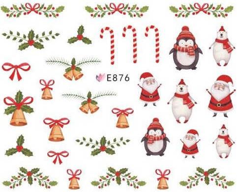 Новогодний 3 D слайдер-дизайн для ногтей E876