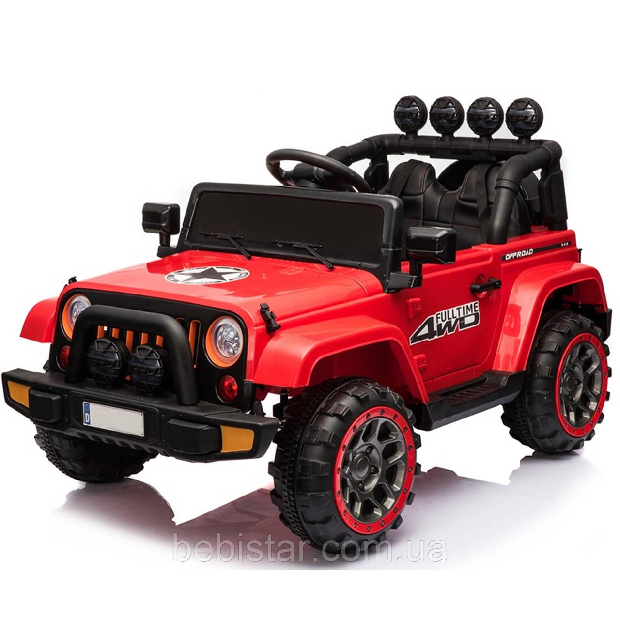 Дитячий електромобіль Джип червоний T-7833 EVA RED діткам 3-8 років з пультом мотор 2*30W батарея 12V7AH з МР3