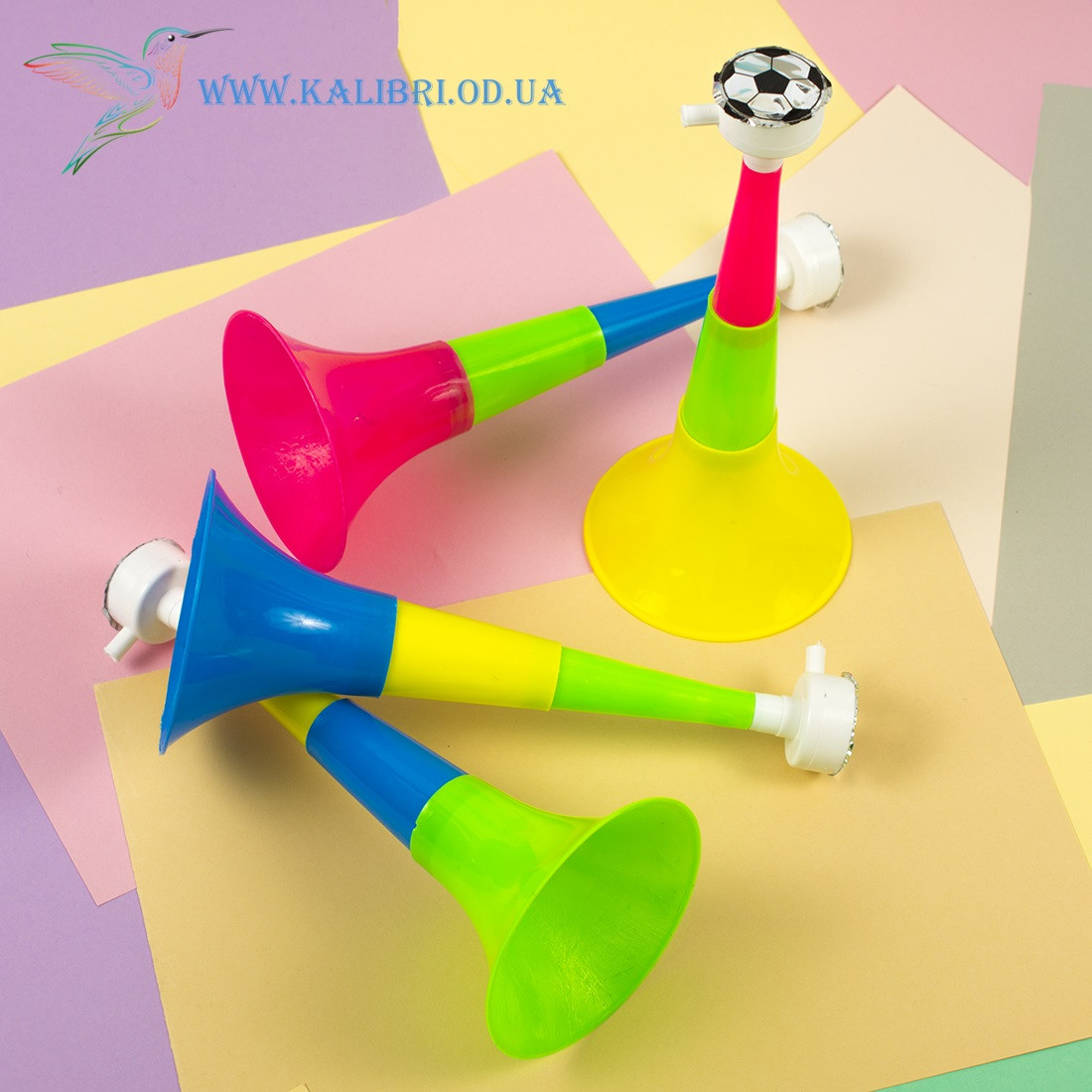 Детская дудка свисток футбольная тройная складная 21,5 см