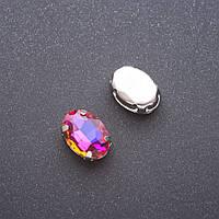 Пришивной кристалл в цапе овал 10х14мм фиолетово жёлтый