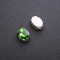 Пришивной кристалл в цапе овал 10х14мм зеленый