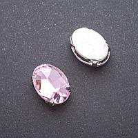 Пришивной кристалл в цапе овал 13х18мм розовый