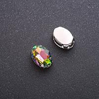Пришивной кристалл в цапе овал 10х14мм зеленорозовый