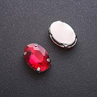 Пришивной кристалл в цапе овал 13х18мм красный