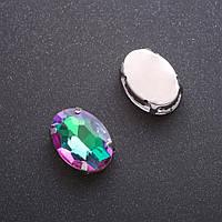 Пришивной кристалл в цапе овал 13х18мм малиновозеленый