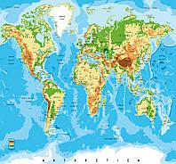 Фотообои флизелиновые 375х250 см Географическая карта мира (MS-5-0261)