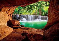Фотообои 3D природа (368х254 плотная бумага) Водопад и пещера (10258CN)
