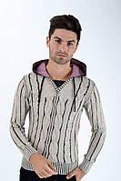 Пуловер мужской вязаный, с V-образным вырезом AG-0008440 Песочный