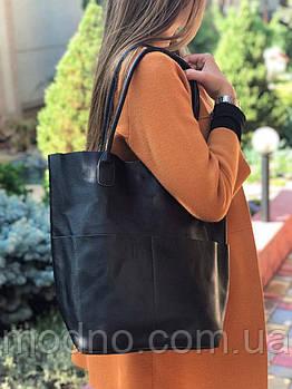 Женская кожаная вместительная сумка  шоппер на плечо