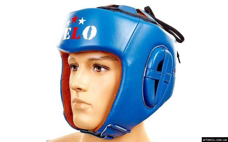 Шлем боксерский профессиональный кожа AIBA VELO  Синий, XL, фото 2