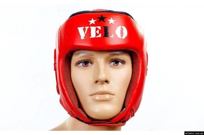 Шлем боксерский профессиональный кожа AIBA VELO  Красный, XL, фото 2