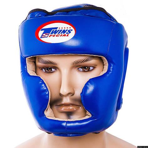 Шлем боксерский закрытый  Flex Twins Синий, M, фото 2