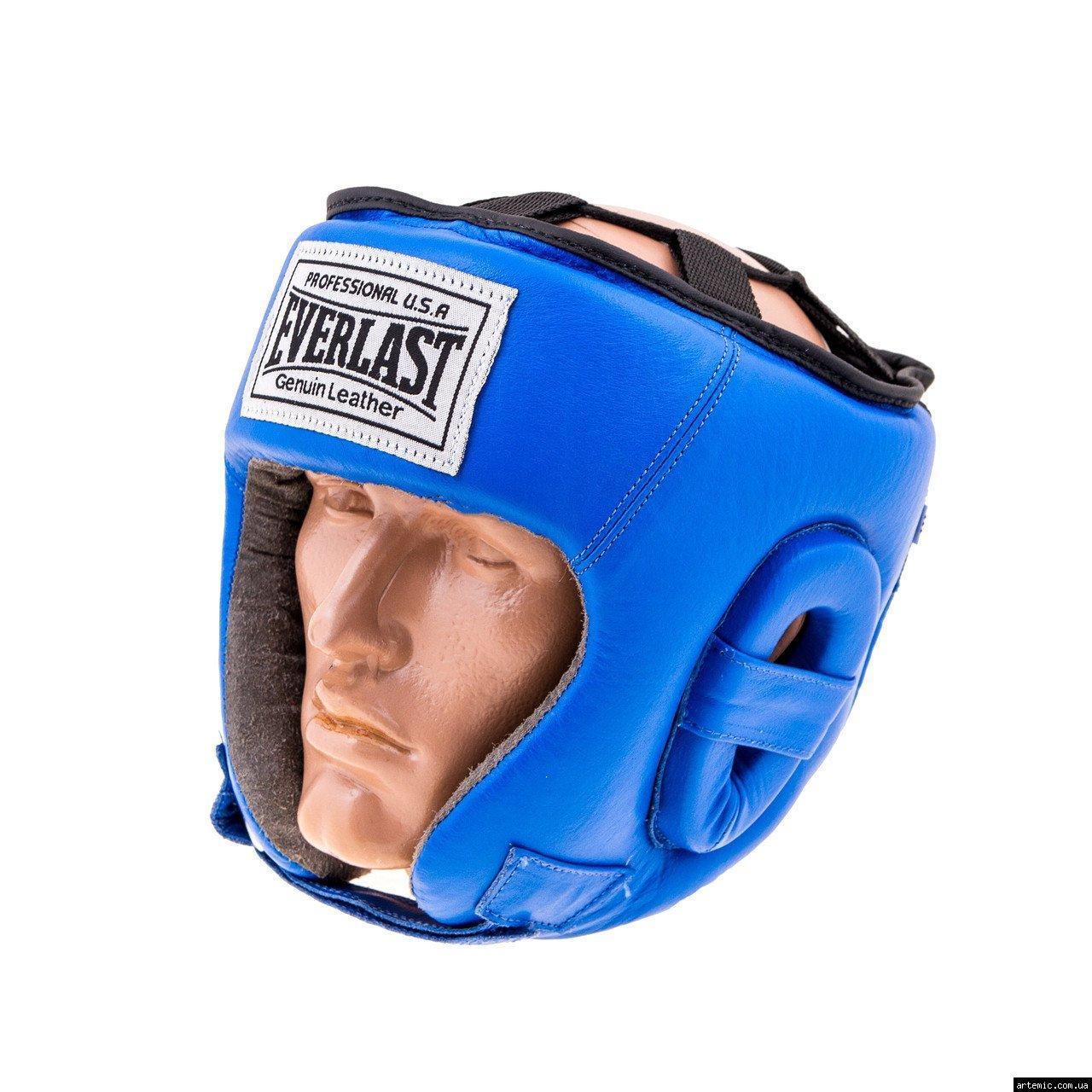 Шлем бокс открытый кожа Everlast M, Синий