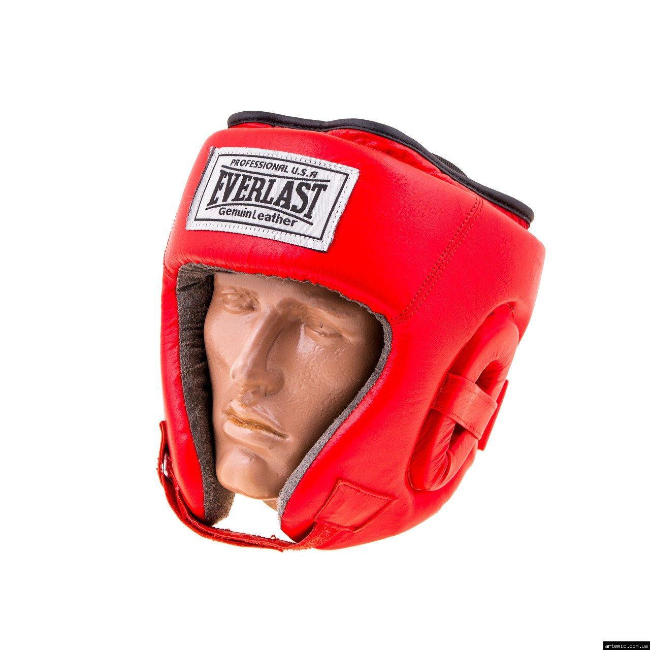 Шлем бокс открытый кожа Everlast M, Красный