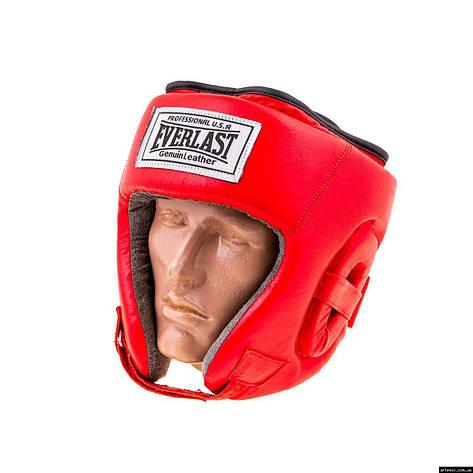 Шлем бокс открытый кожа Everlast L, Красный, фото 2