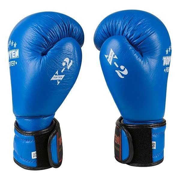 Боксерские перчатки TopTen X-2 кожа,10oz, синий