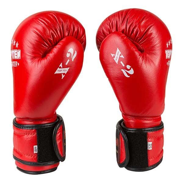 Боксерские перчатки TopTen X-2 кожа, 12oz, красный