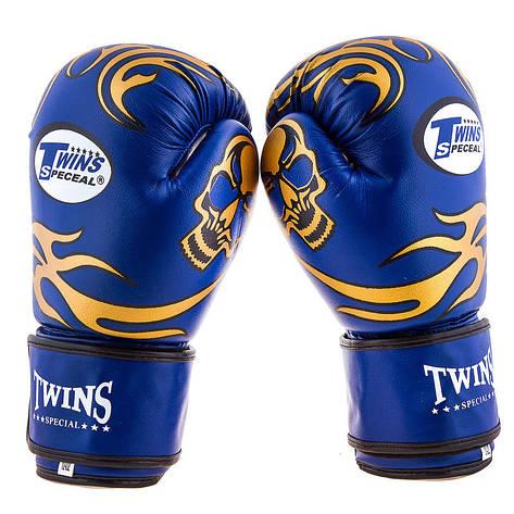 Боксерские перчатки Twins, PVC, 8oz,10oz,12oz, синий, фото 2