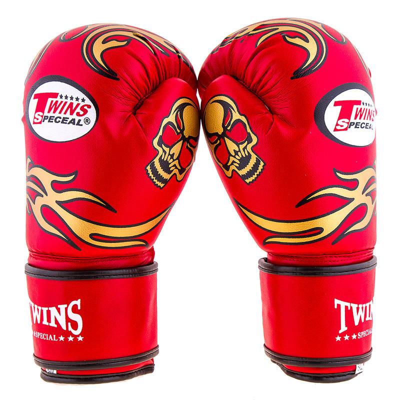 Боксерские перчатки Twins, PVC, 8oz,10oz,12oz, красный