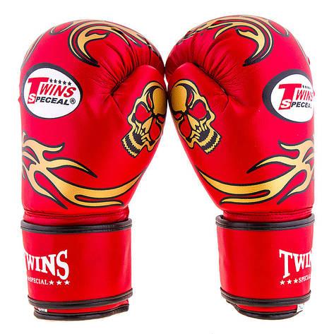 Боксерские перчатки Twins, PVC, 8oz,10oz,12oz, красный, фото 2